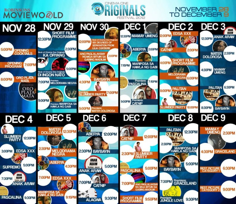 Complete Schedule of CINEMA ONE ORIGINALS DIGITAL FILM FEST @ ROBINSONS MOVIEWORLD GALLERIA, ORTIGAS. November 28 to December 9, 2012.