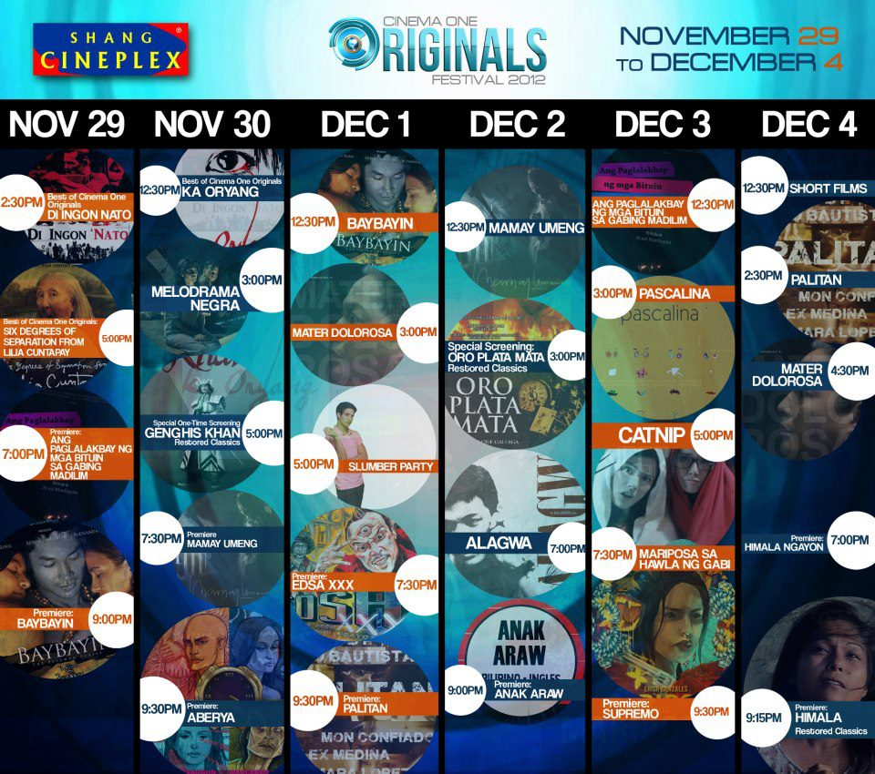 Complete Schedule of CINEMA ONE ORIGINALS DIGITAL FILM FEST @ EDSA SHANG CINEPLEX, MANDALUYONG CITY. November 29 to December 4, 2012.
