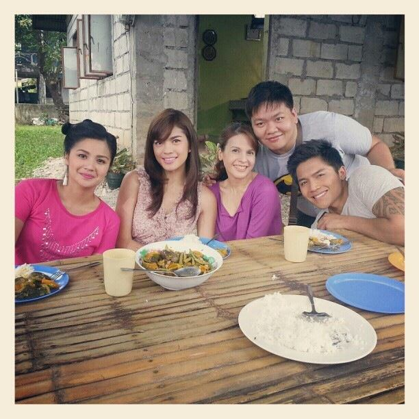 "rita avila at the set of her TV miniseries ""Sana'y Ikaw Na Nga"" with co-stars and a friend."