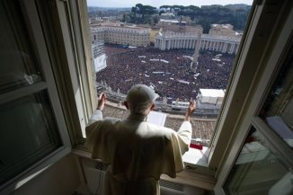"Pope Benedict XVI leads the Angelus prayer from the window of his appartments on February 24, 2013 at the Vatican. He delivered an emotional last Sunday prayer in St Peter's Square, saying God had told him to devote himself to quiet contemplation but assuring he would not ""abandon"" the ChurchAFP News - Pope Benedict XVI leads the Angelus prayer from the window of his appartments on February 24, 2013 at the Vatican. He delivered an emotional last Sunday prayer in St Peter's Square, saying God had told him to devote himself to quiet contemplation but assuring he would not ""abandon"" the Church"