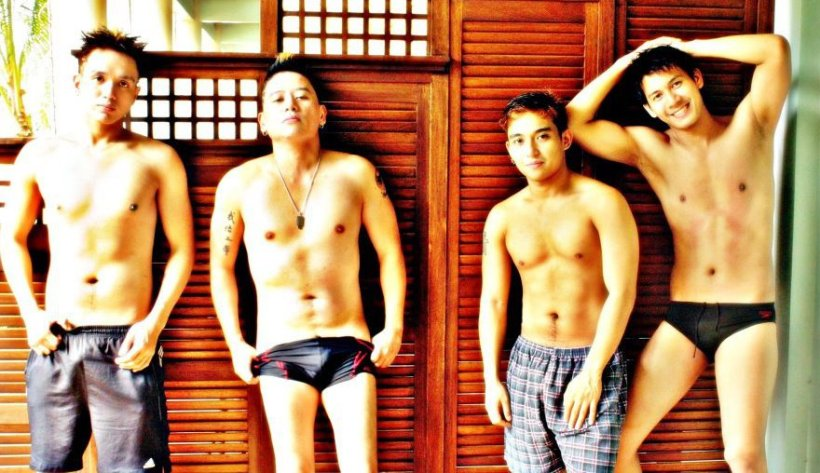"""macho and sexy men like these acts as female candidates to the annual """"miss psf"""" of the philippine stagers foundation (on the photo: kevin, vince, patrick and jordan)."""