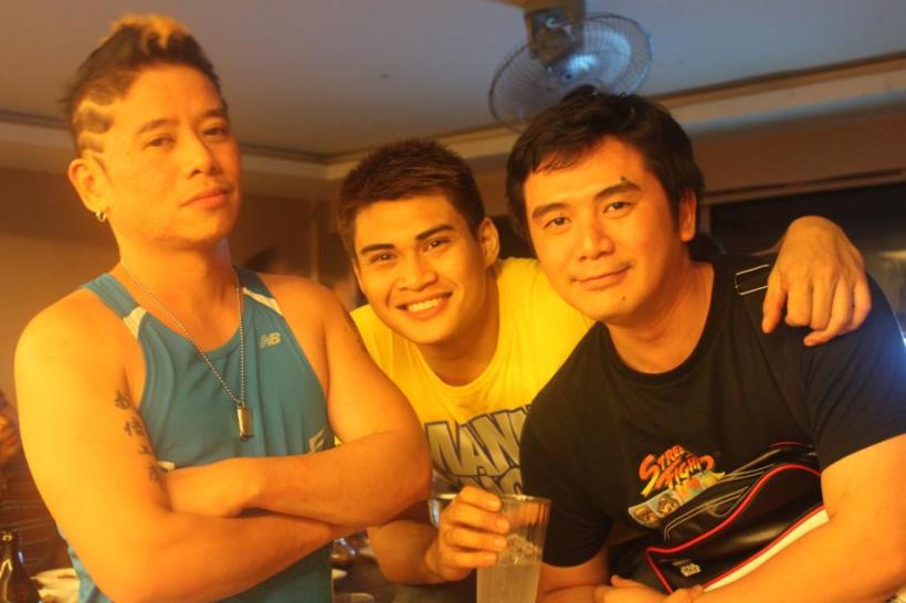 chris with his two schoolmates at san beda college (at left is vince tanada and at far right is their common schoolmate)