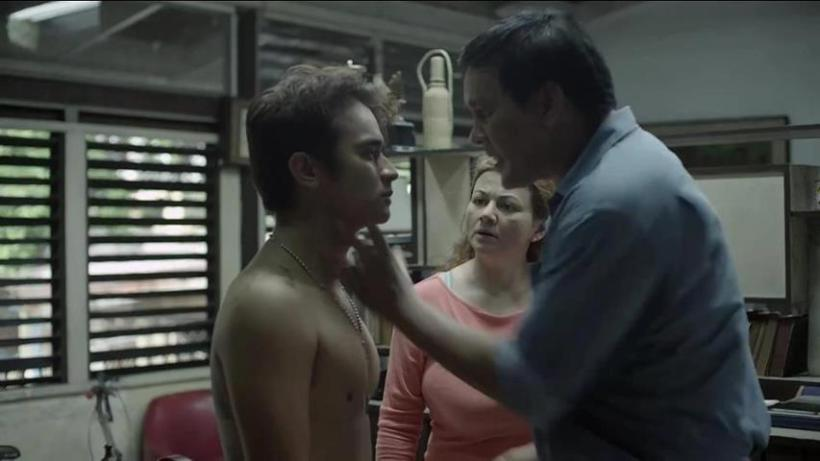 "jm de guzman, confronted by joey marquez and rossana roces in a scene from the star cinema movie ""on the job"""