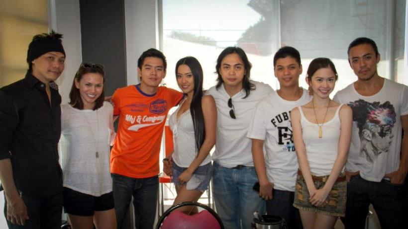 "lance, far right, with the whole cast of ""alaala ng tag-ulan"" and direk ato bautista (center middle in white shirt)"