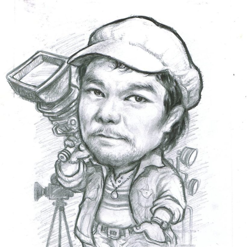 A CHARCOAL PAINTING OD THE LATE GREAT FILIPINO FILM DIRECTOR- CELSO AD CASTILLO, AS DRAWN BY HIS YOUNGEST SON, CELSOKID CASTILLO III.