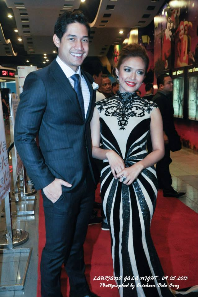 "bangs garcia (on the photo with actor victor basa): and the outstanding gown she wore at the gala premiere night of her movie ""lauriana"""