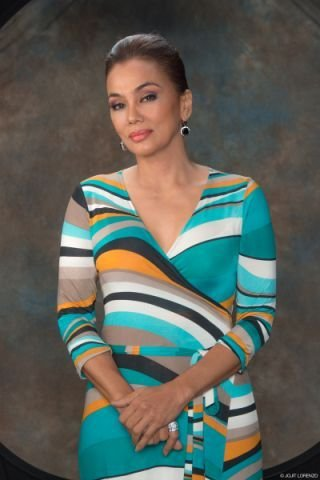 "ms. kuh ledesma and one of her great fabulous dresses she wore at her tv miniseries on channel 7- ""my husband's lover""."