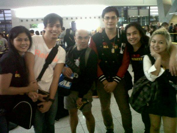 stagers adelle lim, jm encinas, art gabrentina, chris lim, chin ortega and jerie sanchez at naia domestic airport before they all board the flight to dumaguete city last october 7, 2013.