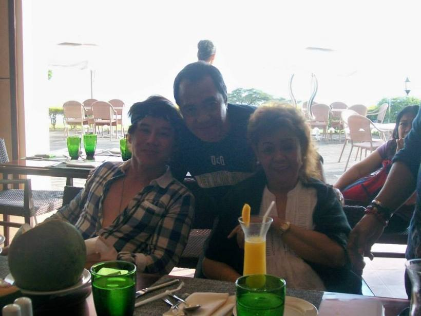 this blogger with vince tanada and his mom, mrs. emy tanada during a merienda at cafe veranda in alta vista hotel, tagaytay city