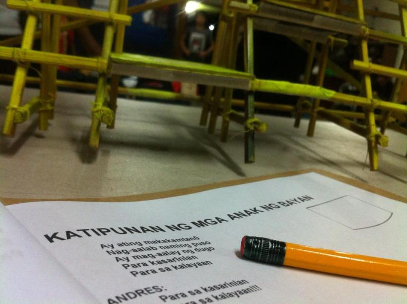 THE KATIPUNAN SCRIPT AND A PENCIL.