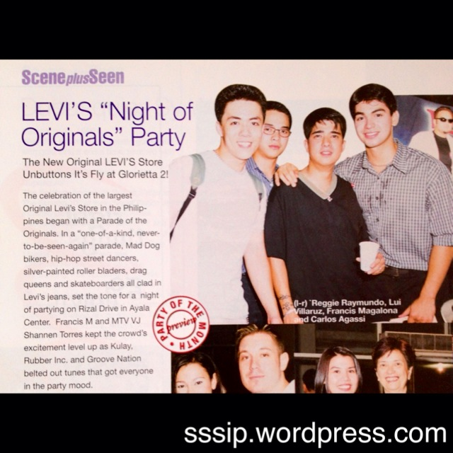 Sssip also found this photo of Lance (then known as A Model named Reggie) at a Levi's event with his co models and celebrities like the late Francis Magalona.