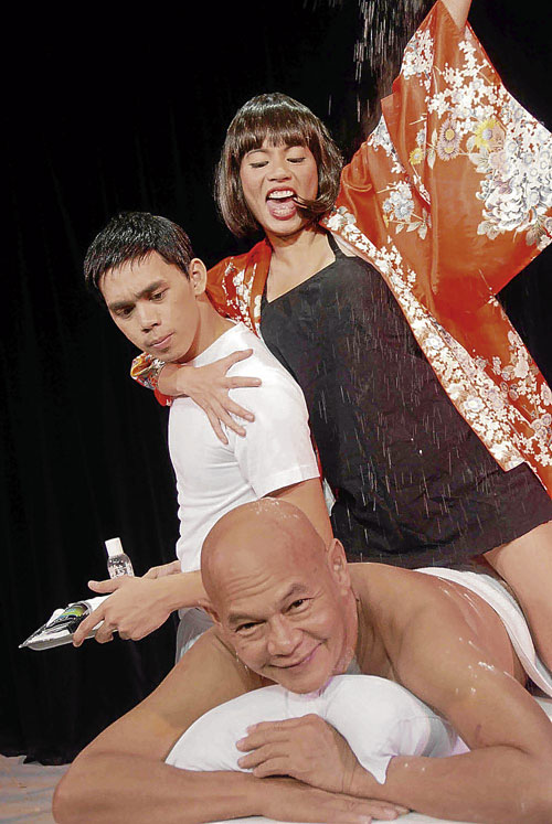 theater actor paul jake paule in a previous virgin labfest play with veteran actor bembol rocco and a female character.