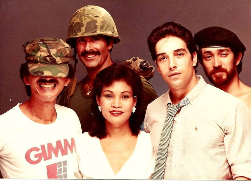"""John Silao, Michael James, Reva Raz, Romano Kristoff, Don Gordon Bell clowning around at John's studio Legaspi Towers...when there was NO CCP yet.""- don"