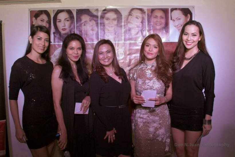 mrs. prescy yulo (in the middle) together with the beauty queens at the last beauty & arts event