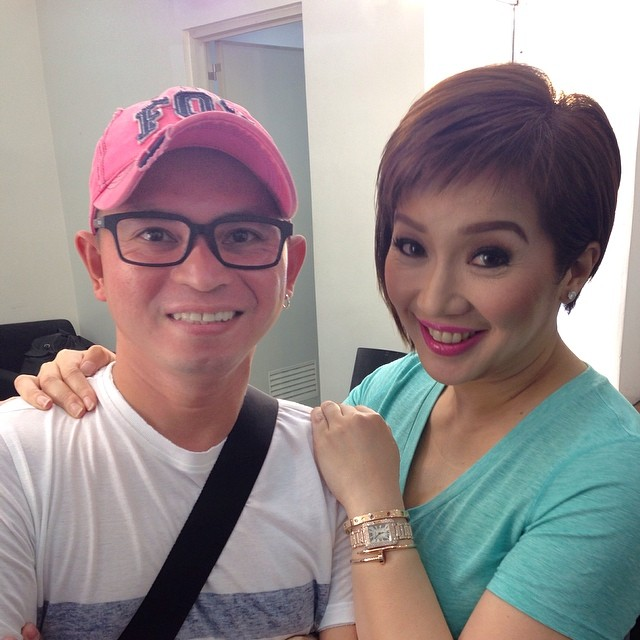 kris shows-off her new hairstyle with friend philip ababon rojas