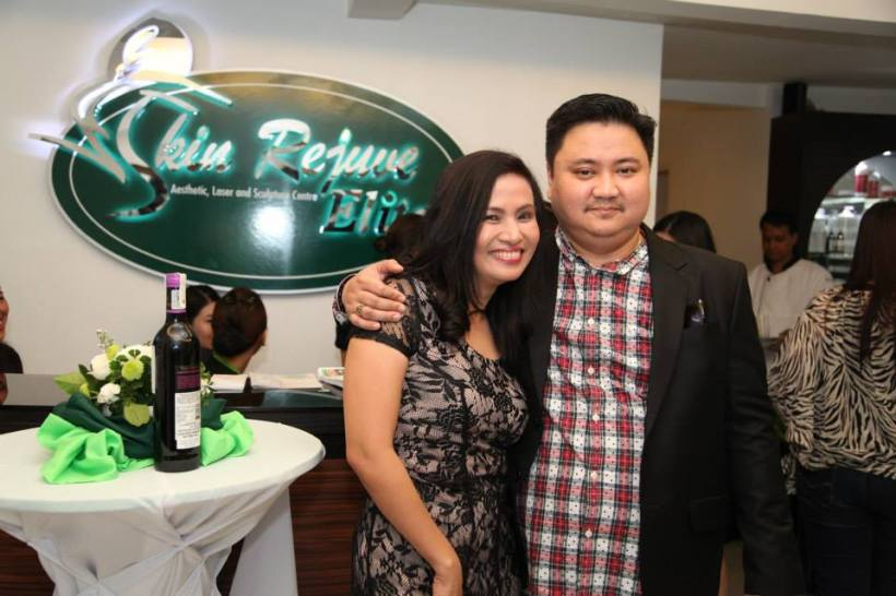 mrs. prescy valenzuela-yulo with husband ronald at the opening of skin rejuve elite branch in timog ave.