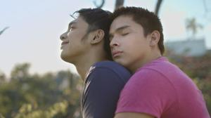"angelo with his co-star in ""unfriend""- sandino martin"