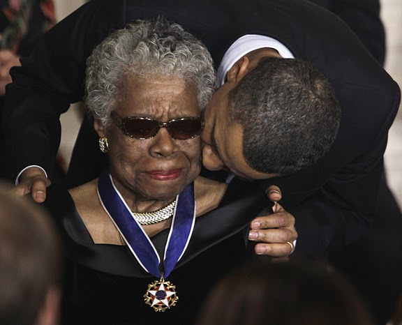 MAYA ANGELOU, being kissed by U.S. President Barrack Obama