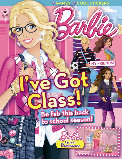 Working mom and barbie magazines present their back to