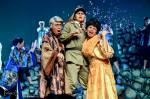 "derotsen etolle, regie dela vega and ms. jerie sanchez in one of the most popular scenes in the play ""filipinas: 1941"""