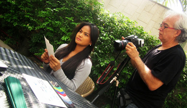 """don gordon bell (holding a camera) with althea vega in """"astray"""" film shoot"""
