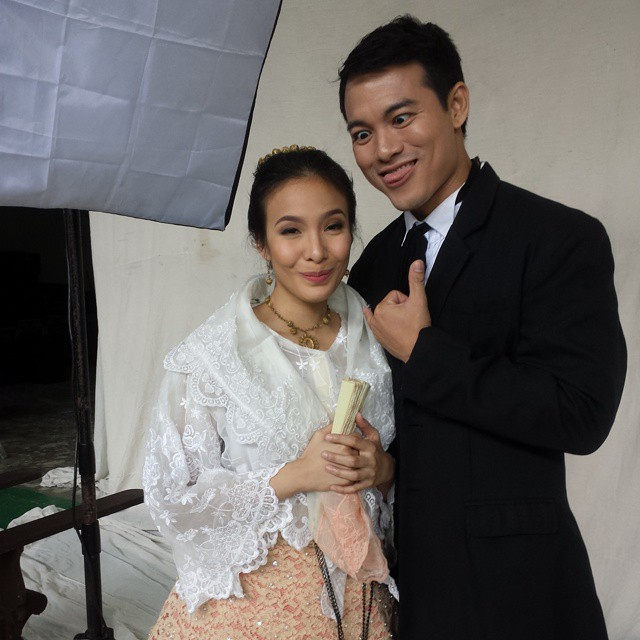 joel molina as crisostomo ibarra in a wacky shot here with ms. cris pastor as maria clara