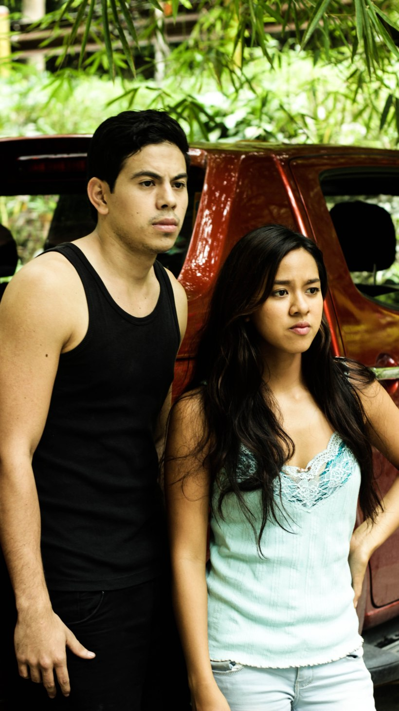 """bitukang manok"" with mara lopez and a co-actor"