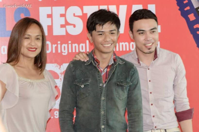 """mimi juareza, director nash ang, and another male actor of """"seoul mates"""" during the last press conference of 2014 cinema one originals."""