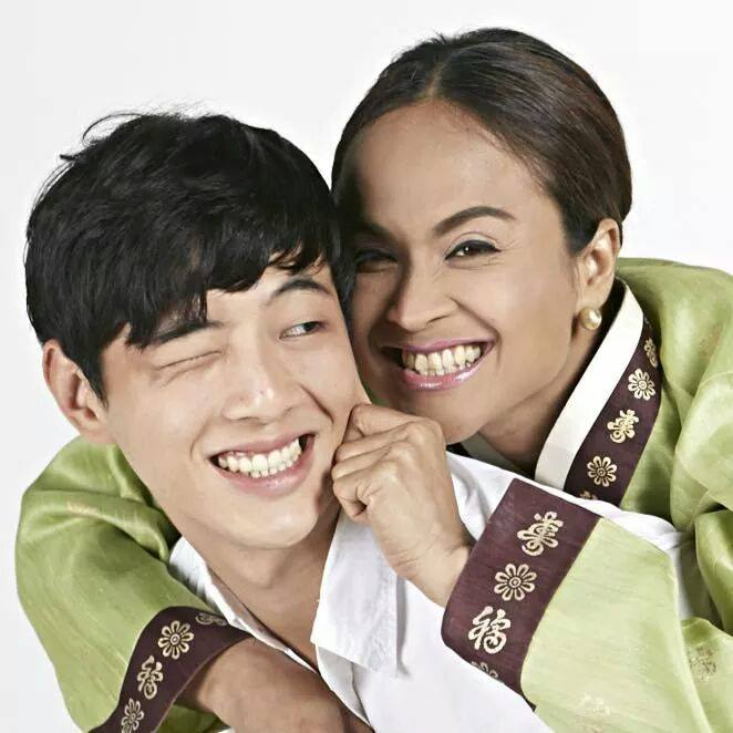 "mimi with his leading man, a korean actor, in ""seoul mates"""
