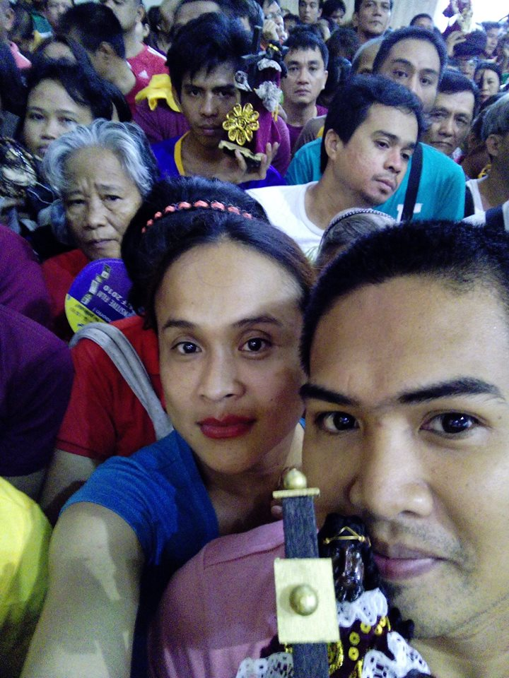 mimi with her special someone during the feast of the black nazarene at quiapo church