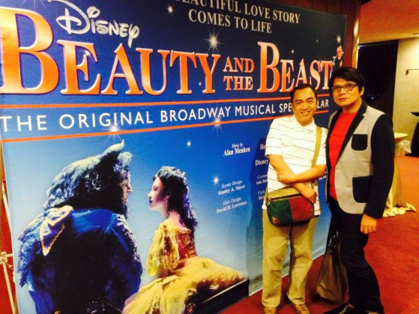 "this blogger (sssip) with his best friend - mama ness astilla, owner of ness astilla chain salons- as they watched ""beauty & the beast"" original broadway production at the cultural center of the philippines"