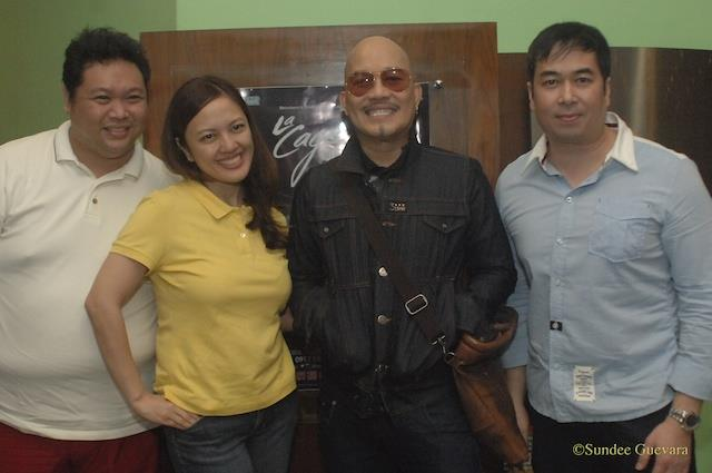 mr. jonjon martin with theater icon leo valdez (third from left) and Anna Santamaria  Company Manager and Santi Santamaria Managing Director of Executive Producer of Nine Works Theatrical.