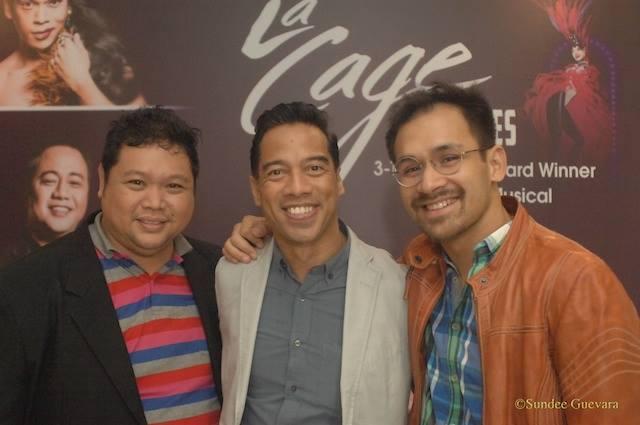 Arnold Trinidad at Pj Rebudilla:  the choreographers of La Cage Aux Folles, poses with Mr. Jonjon Martin