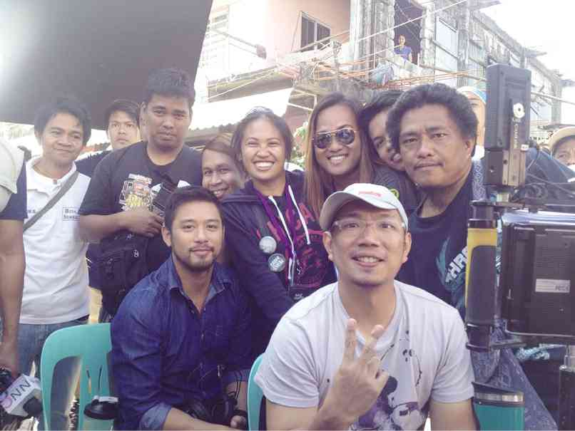"rocco with direk paul sta. ana (in cap) and the rest of the staff of the film ""balut country"""