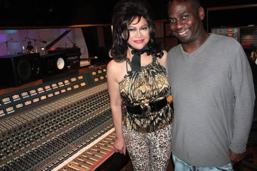 lou with mr. andrew lane, the record producer who discovered her