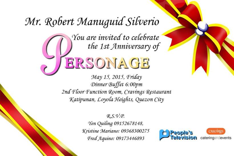 THE FORMAL INVITATION SENT TO A BLOGGER BY THE PERSONAGE TEAM
