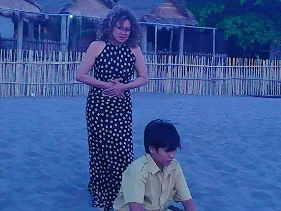 "jerome with hollywood singer-actress ms lou baron in a dramatic scene in ""butanding"""