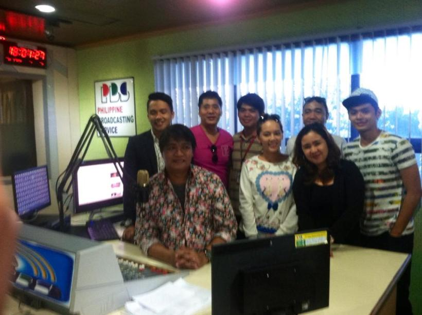 inside the dzrb radio booth: jules, mommy renee, mr. martin martin, frederick, hessa, jenn, robert and pj