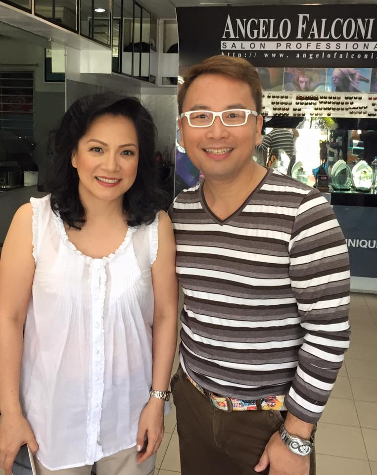 mrs. marlowe sanchez, wife of bo sanchez, with salon owner angelo falconi