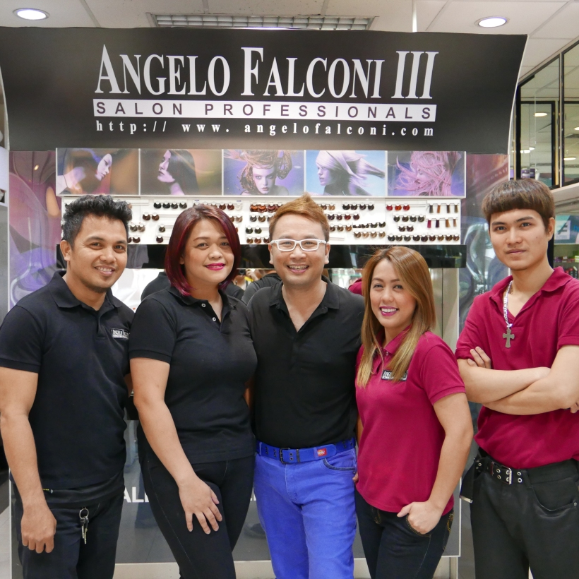 the handsome artistic staff of angelo falconi salon- lemuel, andrea, angelo, hans and candy