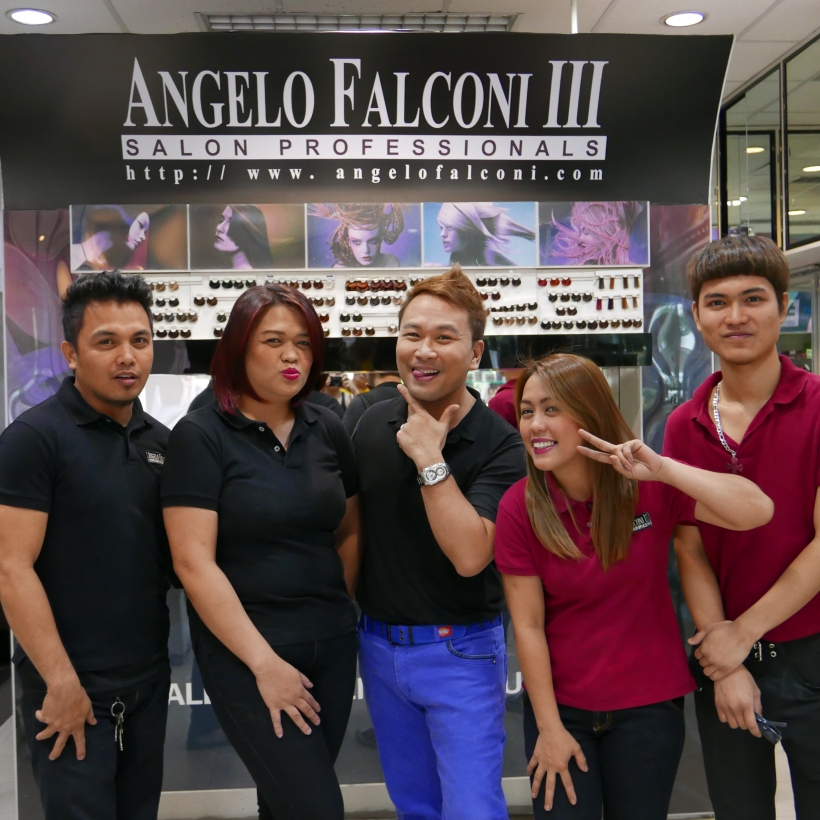 wacky pose of the artistic team of angelo falconi salon