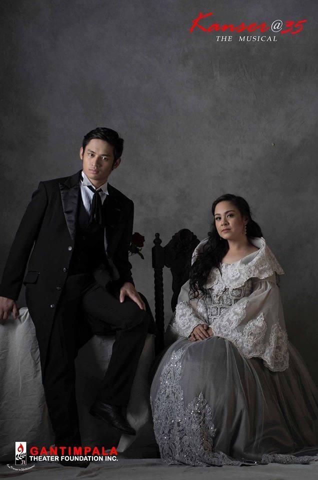 "michael pangilina as crisostomo ibarra, with myramae menesses as maria clara in gantimpala theater foundation's ""KANSER, THE MUSICAL"""