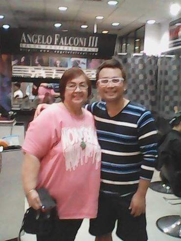 MR. FALCONI WITH FRIEND TESSIE LAGMAN AT HIS ANGELO FALCONI SALON BRANCH AT ALMANZA, LAS PINAS