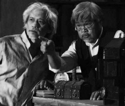 "sir abe with pen medina in ""kamera obskura"", a cinemalaya film entry in the year 2013."