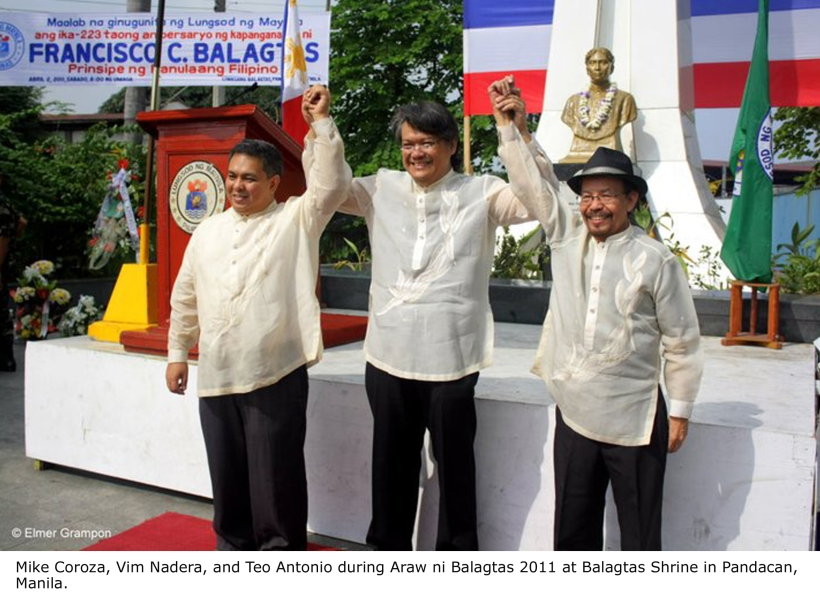 MIKE COROZA, VIM NADERA, AND TEO ANTONIO DURING ARAW NI BALAGTAS 2011 AT BALAGTAS SHRINE IN PANDACAN, MANILA