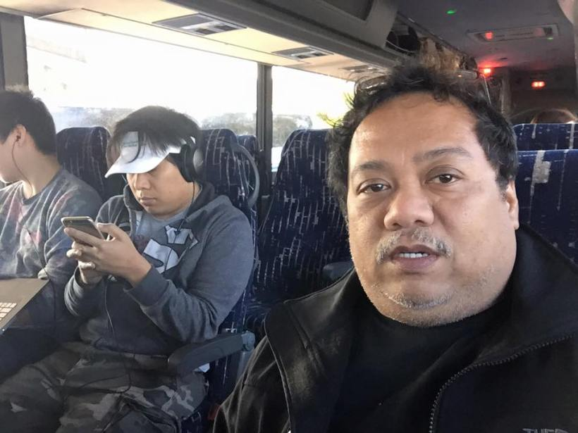 direk arnel on a bus ride to L.A. (Los Angeles)