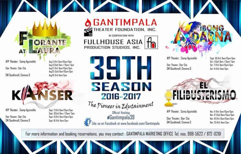 FULL HOUSE PRODUCTIONS MERGES WITH GANTIMAPALA THEATER FOUNDATION ON ITS 39TH SEASON!!